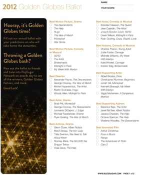 graphic relating to Golden Globe Ballots Printable titled Printable Golden Entire world Awards Ballot 2012 POPSUGAR