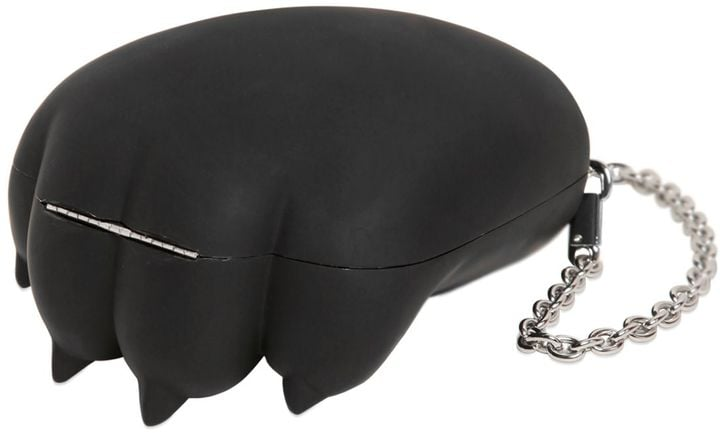 The Kenzo Tiger Paw Rubberized Acrylic Bag ($360) is just a paw, but it's a mighty paw at that.