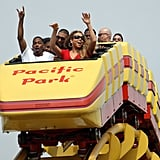 Nick Cannon and Mariah Carey took a front row seat on a roller coaster at the Santa Monica Pier.