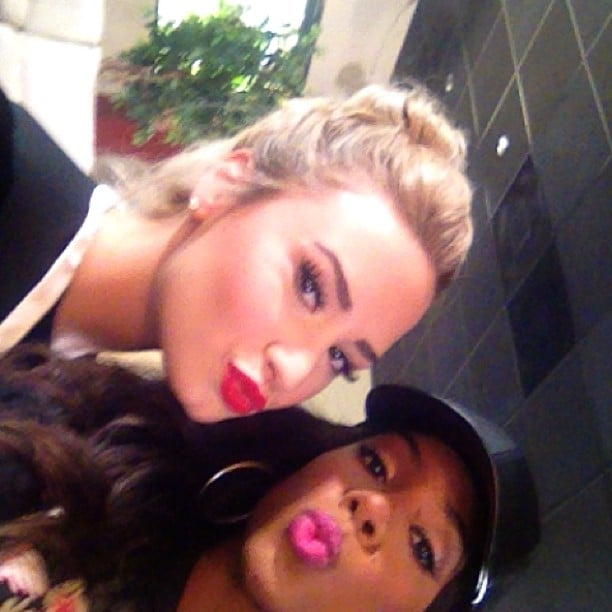 Demi Lovato and Kelly Rowland sent kisses while goofing off on the set of X Factor. Source: Instagram user kellyrowland
