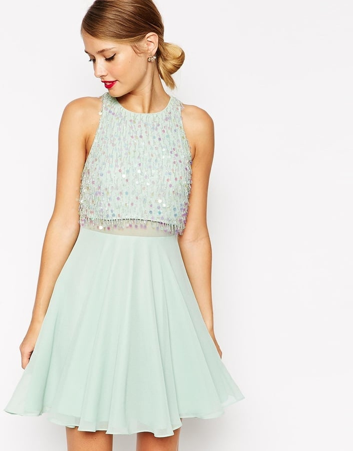 Asos Crop Top Skater Dress With Sequin Droplets (£23) | Cheap Party ...