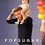David Beckham carried Harper on his shoulders while leaving Cruz's seventh birthday party in LA in February 2012.