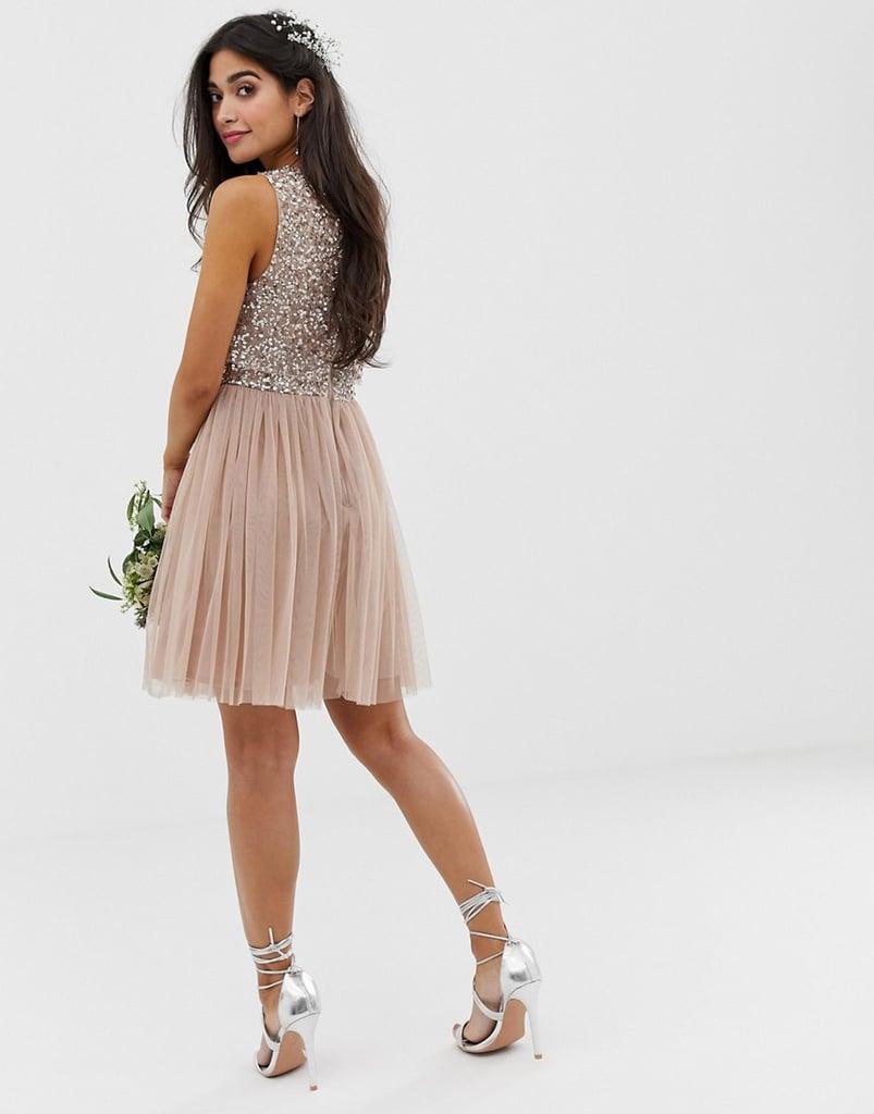 f9e24efa39f5e Maya Petite Bridesmaid Sleeveless Mini Tulle Dress With Tonal Delicate  Sequin Overlay