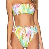 Becca Coral Reef Bandeau Bikini Top and High Waist Bikini Bottoms