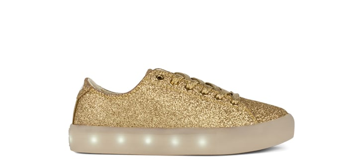 POP Shoes Light-Up Gold Glitter Sneakers