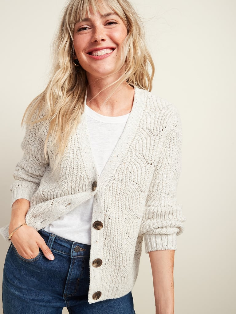 Old Navy Pointelle-Knit Button-Front Cardigan Sweater