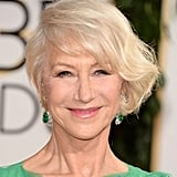 Helen Mirren stunned with a deep side-part 'do.