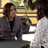 Spencer's sheer bird-print Zara button-down is perfect for Summer. Work this Forever 21 bird blouse ($25) with skinny jeans and lace-up sandals for a cheeky street-chic look. Source: ABC Family