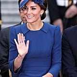 The duchess wore the look right to the official welcome ceremony.