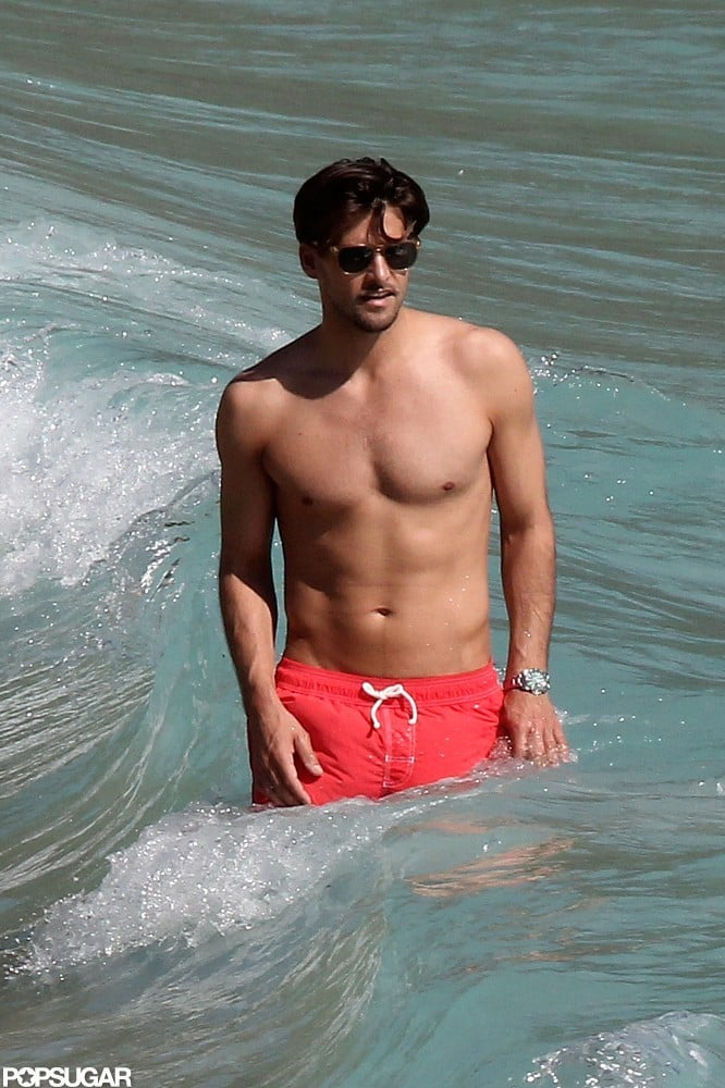 Johannes Huebl wore red short in St. Barts.