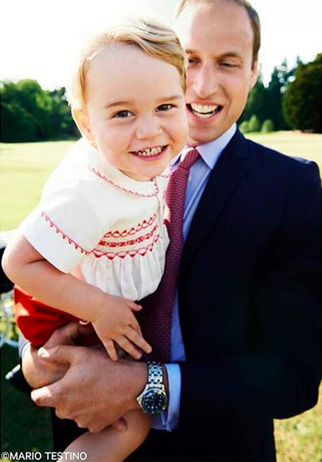 One day before Prince George's second birthday, the palace released yet another candid photo from Charlotte's christening. This one featured a super smiley George with his dad.