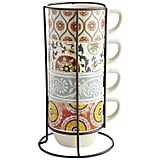Suzani Patchwork Stacking Mugs Set of Four With Stand