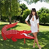 Lea Michele posed with Lacoste's signature croc during their pool party on Saturday.