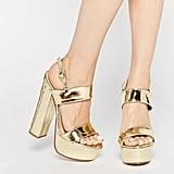 Public Desire Shakira Gold Platform Heeled Sandals ($51)