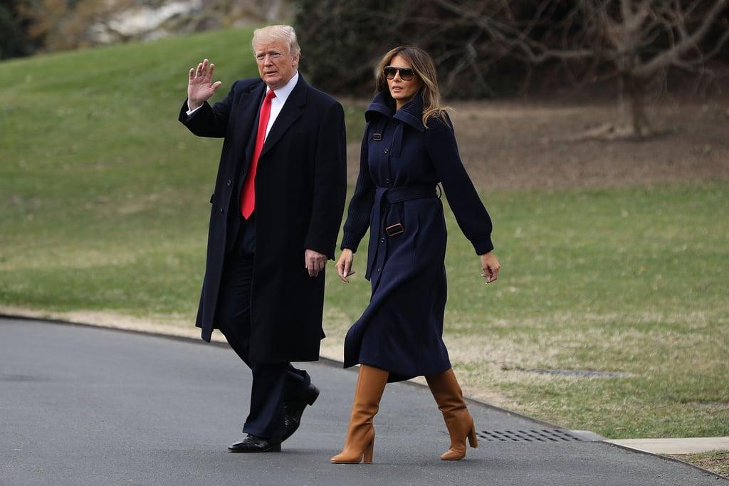 Melania Trump Wearing Tan Boots