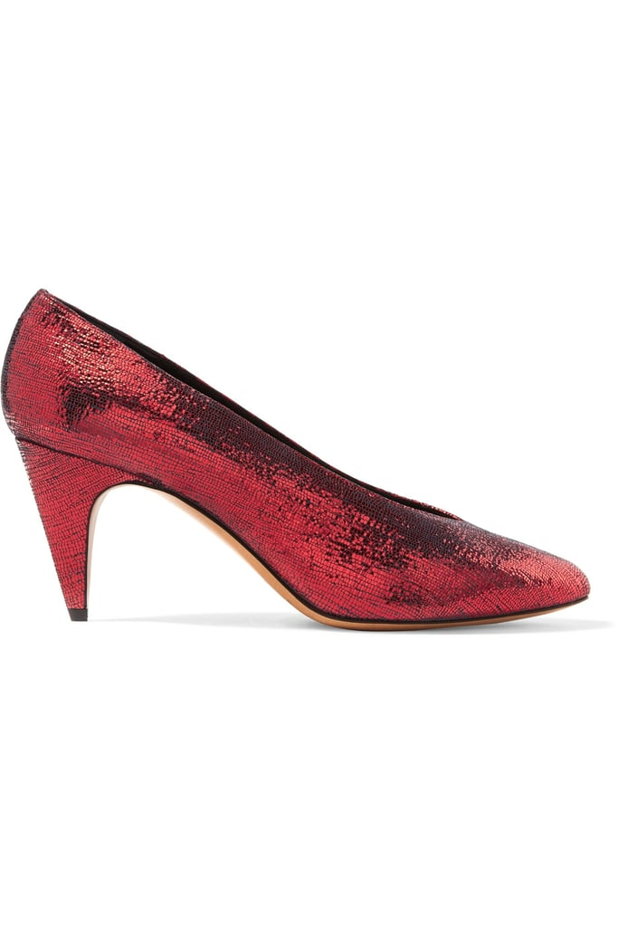 Isabel Marant Etoile Peas Pumps ($595) come up big on the texture. They're Dorothy's slippers, if she'd lived in the '80s.