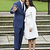 Meghan Wearing a White Trench Coat From Line