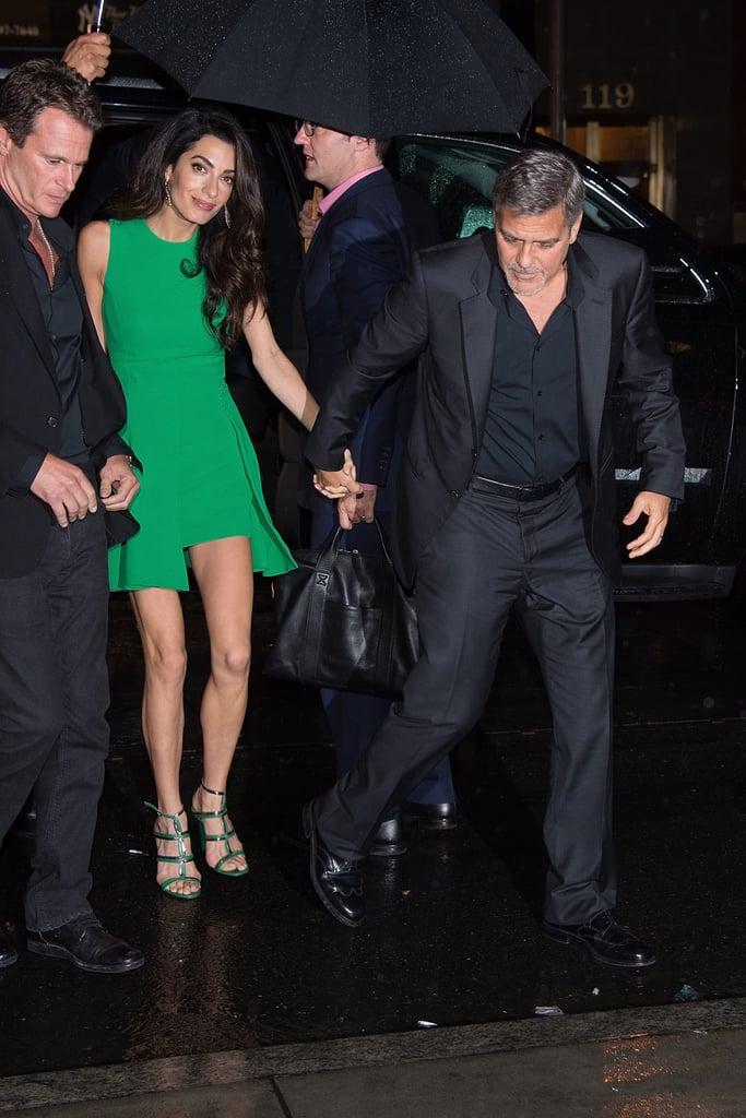 Amal Clooney Wearing Green Versace Dress