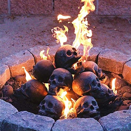 These Skull Fire Logs Are the Creepiest (and Coolest) Thing