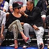 Jay-Z and Beyoncé Knowles showed PDA.
