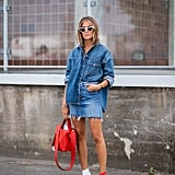Make a denim top-and-skirt outfit pop with two-tone accessories.