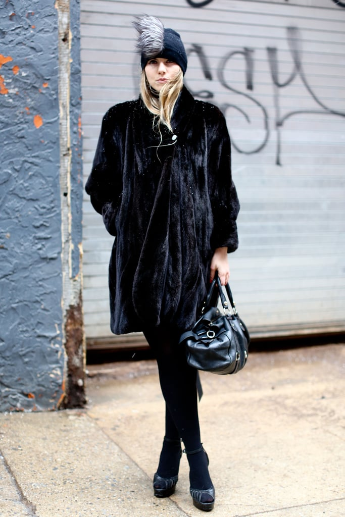 A black fur gave this monochromatic look a little luxury and a lot of texture.
