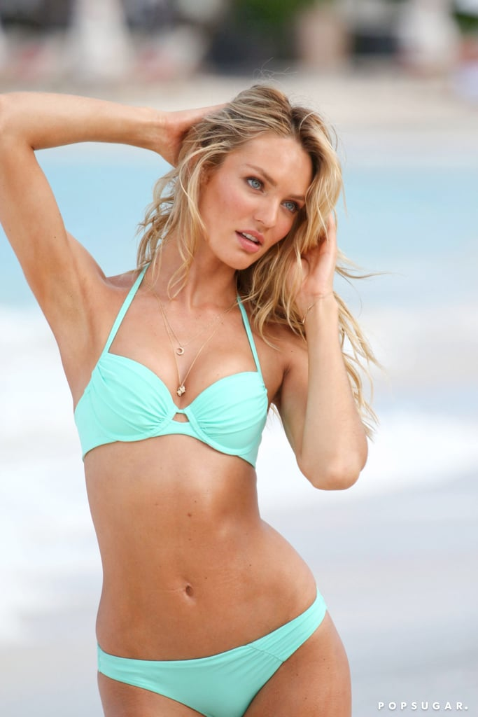 Candice Swanepoel modeled bikinis in St. Barts.