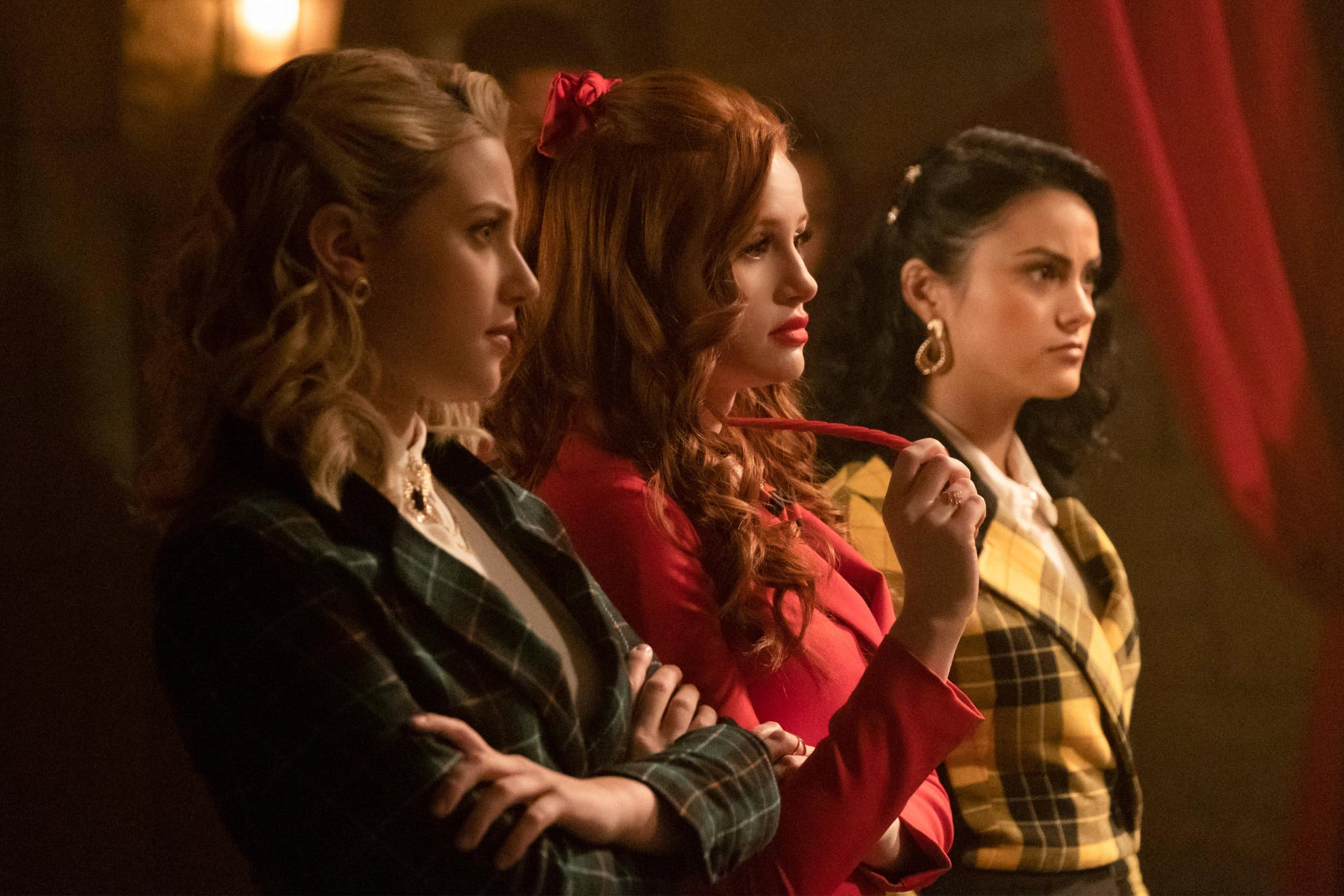 RIVERDALE, from left: Lili Reinhart, Madelaine Petsch, Camila Mendes, 'Chapter Fifty-One: Big Fun', (Season 3, ep. 316, aired March 20, 2019). photo: Katie Yu / The CW / courtesy Everett Collection