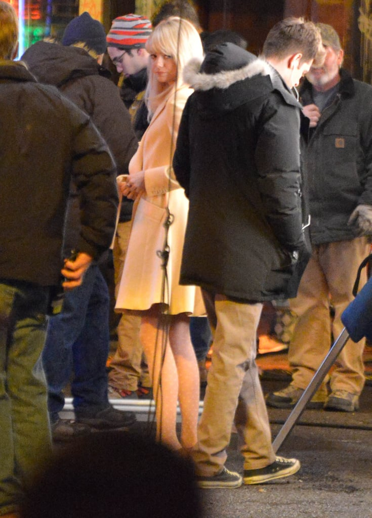 Andrew Garfield and Emma Stone kept close as they filmed The Amazing Spider-Man 2 in NYC on Friday.