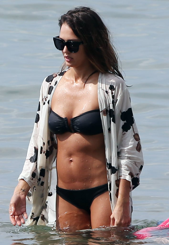 Jessica wore her cover-up in the water while in Maui in March 2016.