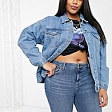 Missguided Plus Oversized Denim Jacket With Rips in Blue