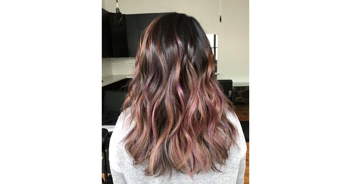 Blush Brunette Rainbow Hair Color Ideas For Brunettes Fall
