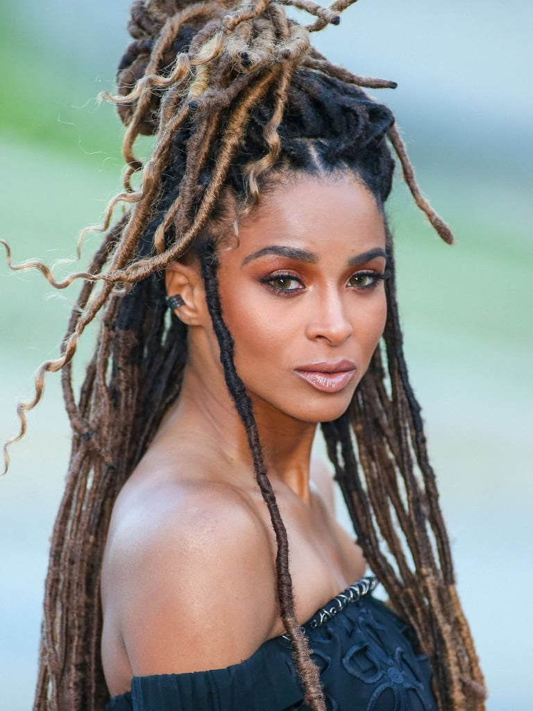 Ciara in Long Faux Locs (Ombré Mix of Colours 1B, 4, and 8)