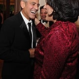 George Clooney had a laugh while hanging out at the White House Correspondant's Dinner.
