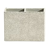 Faux Shagreen 2-Section Pencil Cup
