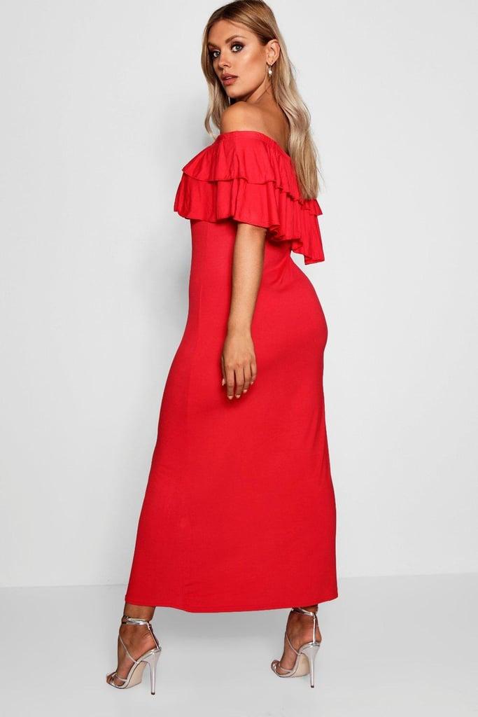 cbd15cb115f3c Boohoo Plus Off The Shoulder Ruffle Maxi Dress