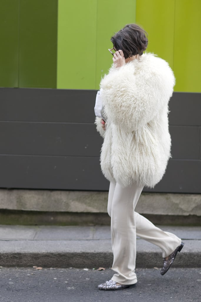 It may be a simplified palette, but this furry coat and glittery loafers packed quite  punch.