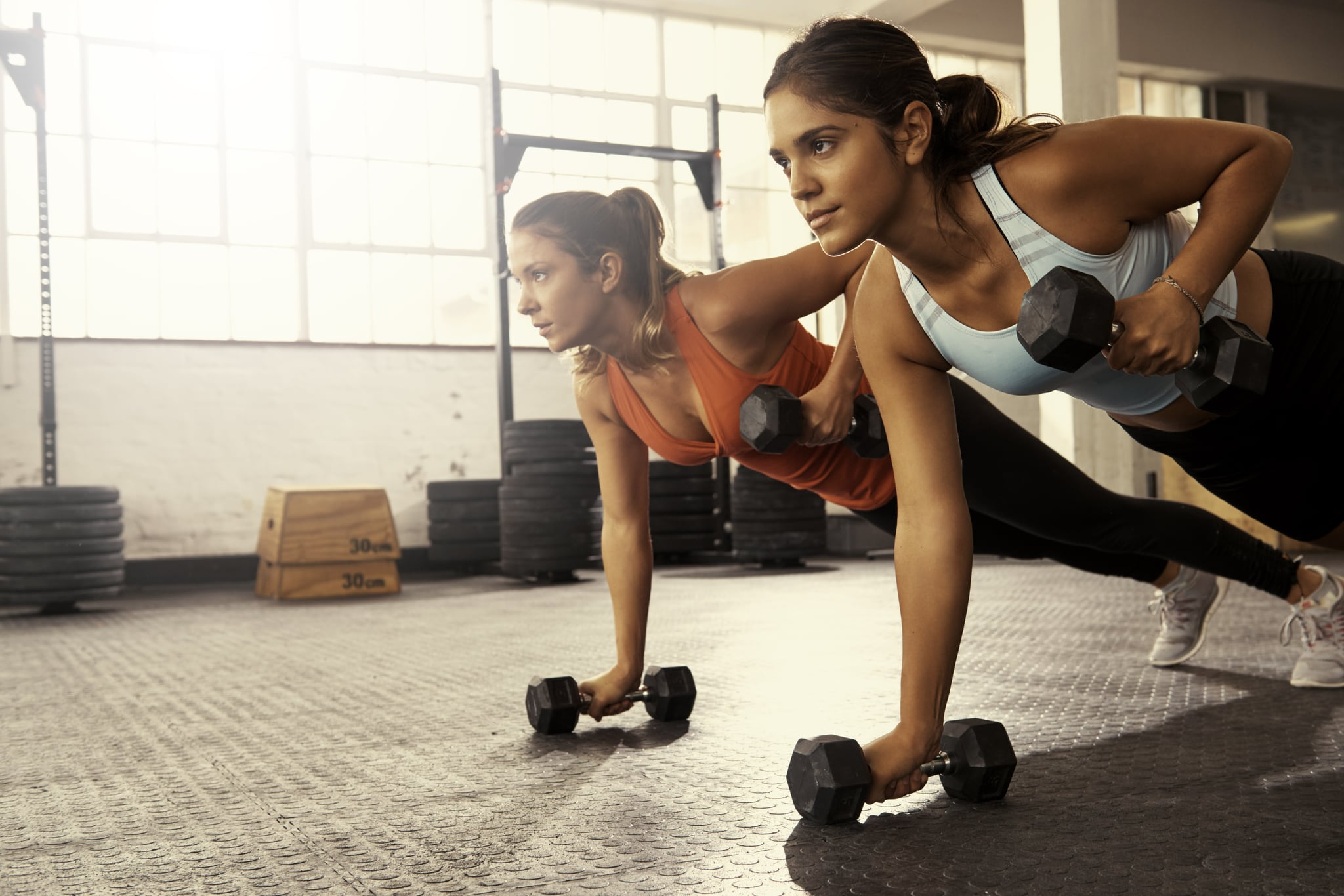 Shot of two women doing push-ups using dumbbellshttp://195.154.178.81/DATA/i_collage/pu/shoots/804605.jpg
