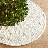 LED Light-Up Faux Fur Snowflake Tree Skirt