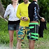 Jimmy Kimmel and Molly McNearney dried off after a surfing lesson.