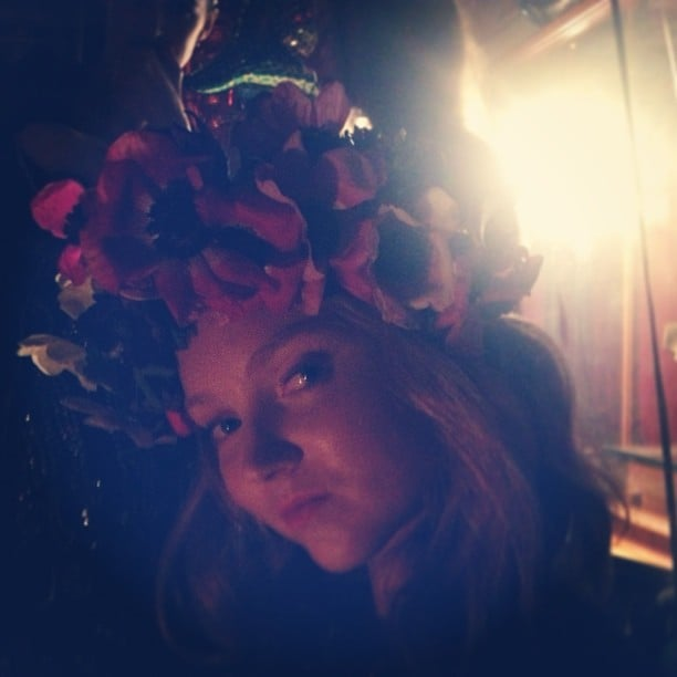 Lily Cole wore a romantic floral crown. Source: Instagram user lilycole