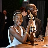Lupita Nyong'o showed off her engraved Oscar.
