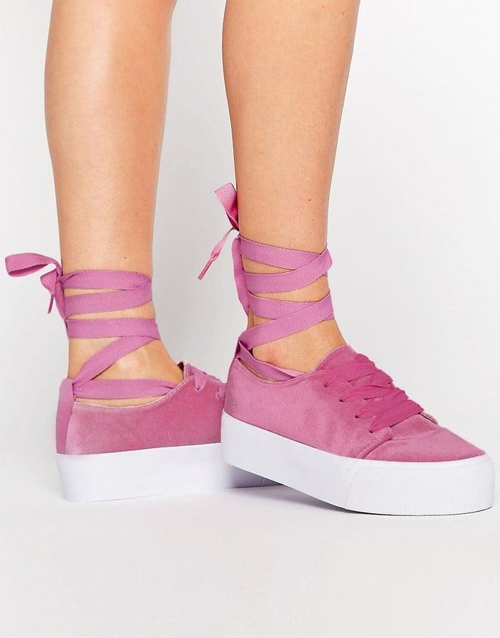 Asos Denver Velvet Tie-Leg Sneakers