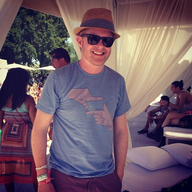 We stopped to say hello to Jesse Tyler Ferguson as we soaked up the sun at a Coachella party.