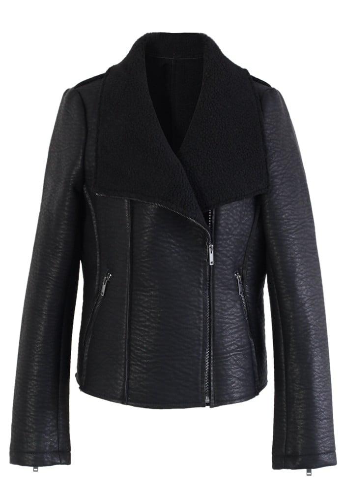 Chicwish Faux Leather Shearling Biker Coat