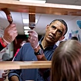 When he stained shelves during a National Day of Service school improvement project in DC