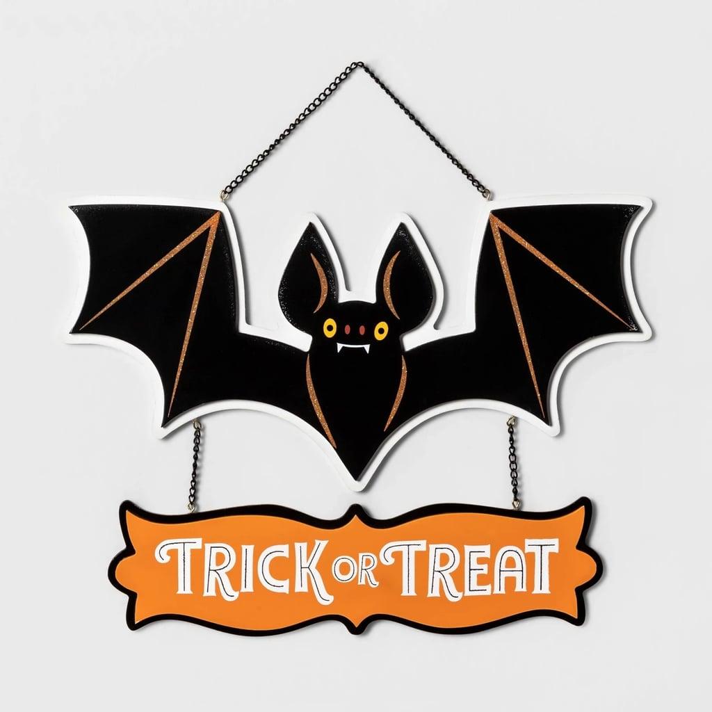 Trick-or-Treat Bat Halloween Hanging Wood Sign