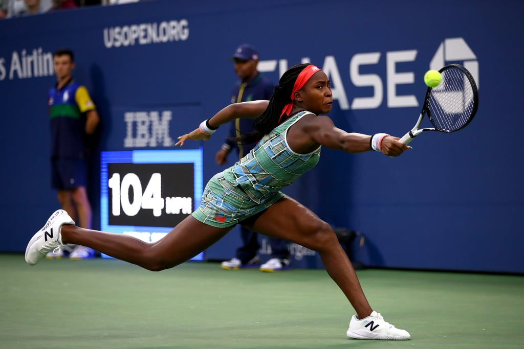 """Cori """"Coco"""" Gauff wowed the world at Wimbledon when, as the youngest athlete to qualify for that Grand Slam, she beat one of her biggest inspirations, Venus Williams. She's only 15. In her US Open debut on August 27, Coco, ranked 140th, came out on top against Russia's 72nd-ranked Anastasia Potapova 3-6, 6-2, 6-4. According to CNN, Coco's the youngest player in the draw and was a wild card pick.  Though she was eliminated after the fourth round at Wimbledon, Coco's match against Venus catapulted her name all over the internet and social media because — hello! — she's got skill. Who was this superstar who'd just out-played one of the Williams sisters? The 2019 US Open is only her second Grand Slam, but already people are filling seats to see her compete and chanting for the teen in support. She even wore her name on her sneakers to remind us that she's here to stay. At that first US Open match, on the outside of each shoe, Coco had written """"Call Me Coco"""" in black Sharpie (which we should all do to our sneakers so people know we mean business). The sneakers appear to be a nod to New Balance's new """"Call Me Coco"""" campaign, which is all about the 15-year-old defying the odds and proving her place among the greatest on the world stage. What made me the most nostalgic about these sneakers was the fact that you can buy them on the New Balance website, but Coco made a point to pen her name in permanent marker. As kids, I saw a lot of my friends colour or doodle on their Converse — and I did it too (sorry, Mom). Coco's embracing her youth but noting she's not going anywhere. It's her intent to keep challenging athletes of all ages and to make herself known in the sport. During a press conference after her US Open match, Coco told reporters that the platform she's been given means a lot to her. """"The amount of people and kids especially that come up to me saying that it inspires them is honestly better than any match I could win, just to know that I inspire another kid maybe to"""