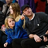 """Chris Martin and Son Moses Have a """"Ball"""" at the Lakers Game"""