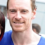 Michael Fassbender smiled in London.